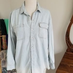 Lucky Brand distressed denim button-down
